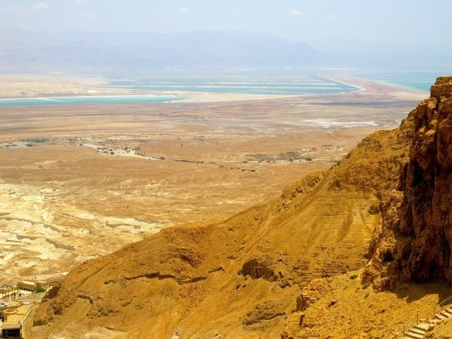 The view from the top of Masada overlooks The Dead Sea and The Judaean Desert.