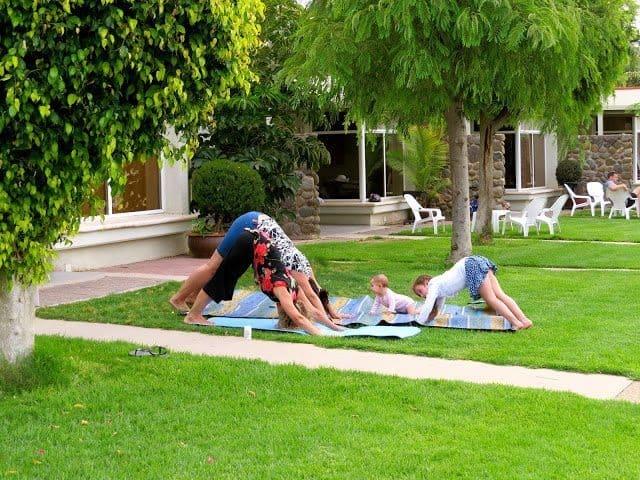 Family yoga at Kibbutz Ginnosar.