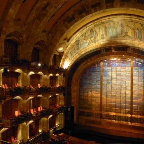 Palacio de Bellas Artes Theater with Tiffany Company stained glass curtains.