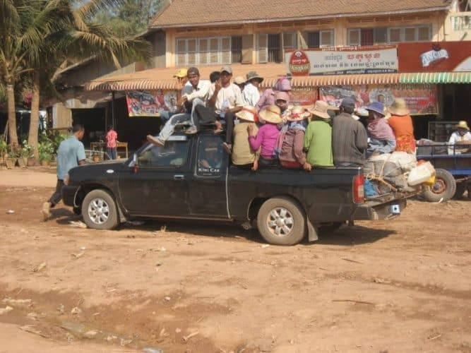 Thailand Travel: Siem Reap pick-up truck full to the brim. Oliver Jarvis photos.