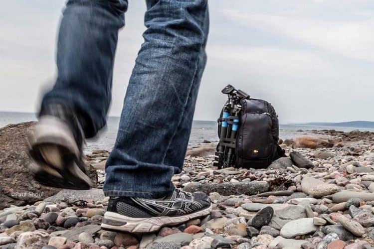 Testing a backpack on the beach in Nova Scotia.