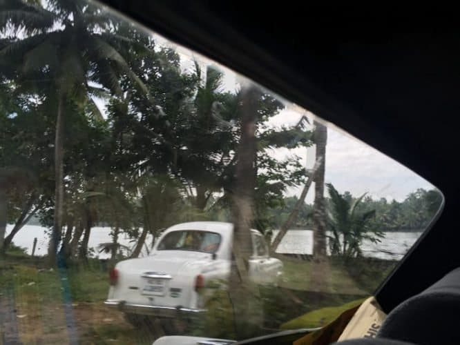 India Trip: An Indian-built Ambassador car on Monroe Island, Kerala India.