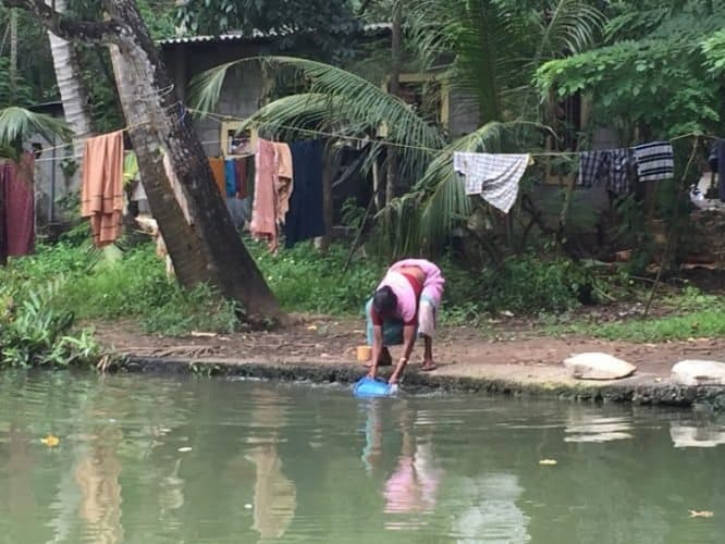Collecting water from the canal.
