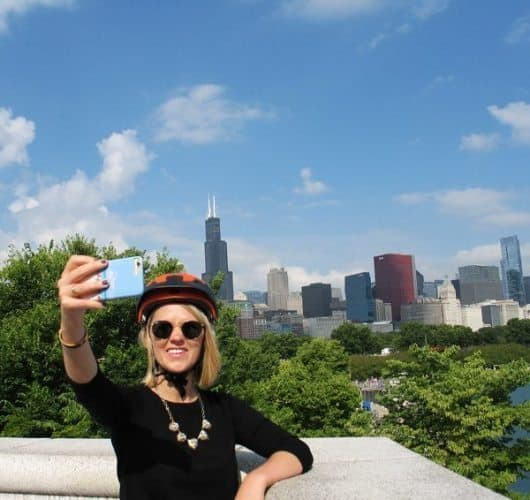 Stopping for a selfie on one of the city's Absolutely Chicago Segway Tours. Susan McKee photos.