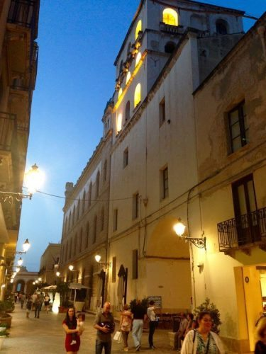 Center of Trapani, Sicily, at night.