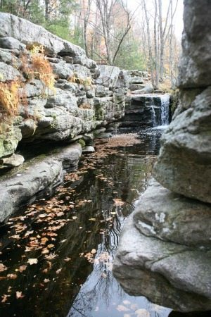 Waterfall that leads to a wading pool in Mohonk Preserve.