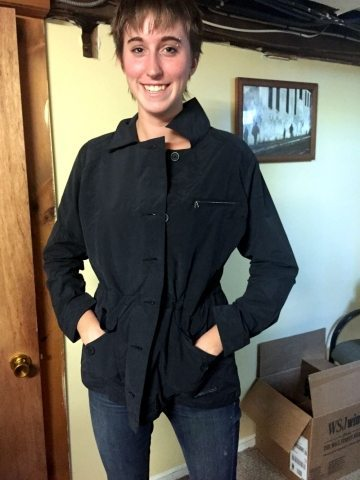 Editorial Assitant, Kristen Richard, wearing the Women's Roundtrip Jacket.