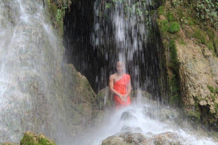 Monk in Kuang Si Falls Laos