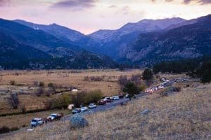 Moraine Park, Rocky Mountain National Park. Traffic stopped to watch the elk in the valley