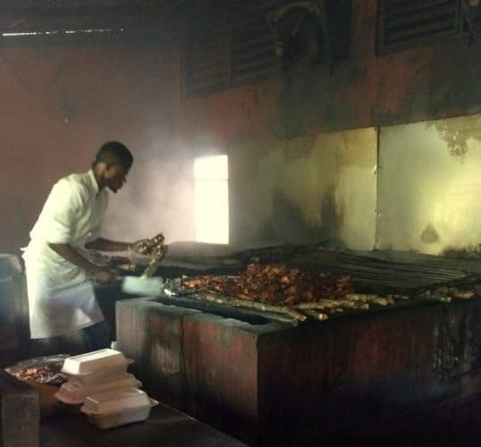 Scotchies jerk chicken, cooked over pimento wood, in Kingston, Jamaica.