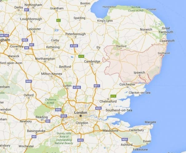 Suffolk's center is Bury St Edmunds, east of London in southern England.