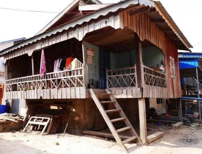 Traditional Khmer homes filled the village.