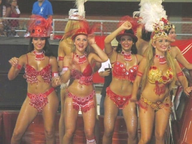 Dancing girls at Paraguay's  Carnival Encarnacion. Read more about this very rarely visited country in South America.