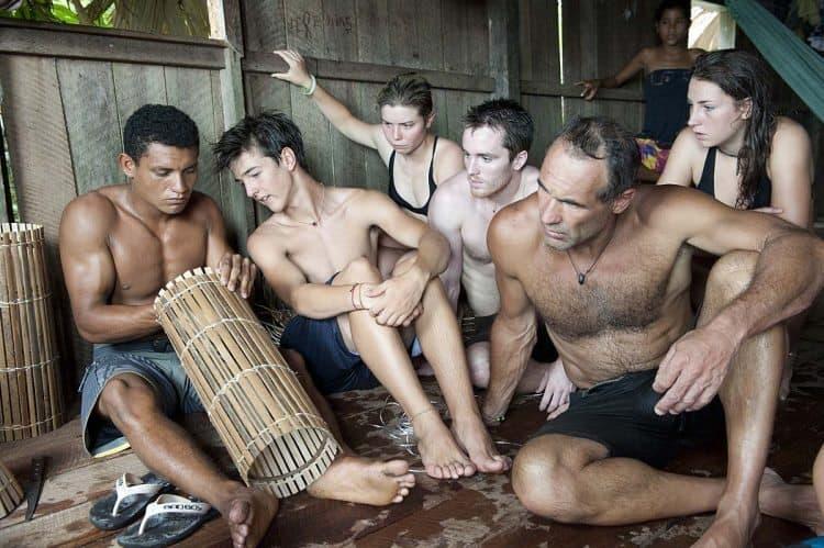 inside a hut in the Amazon. Dmitry Sharomov photos.