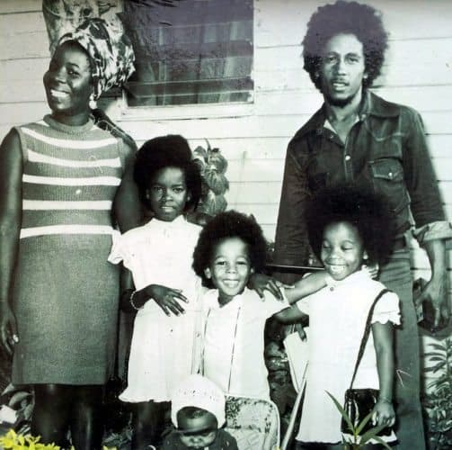 Rita and Bob Marley and their young family. Photo courtesy Bob Marley Museum.