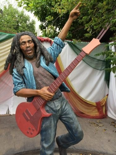 Statue of Bob Marley in the Trench Town Culture Yard Museum, West Kingston, Jamaica.