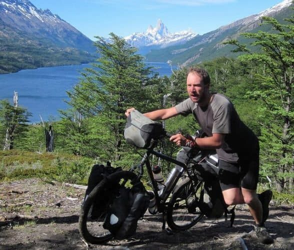 Pushing the bike through the swamp.