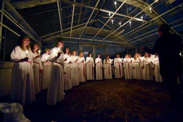 Saint Lucia Day singers in Stockholm, Sweden. Sonja Stark photo.