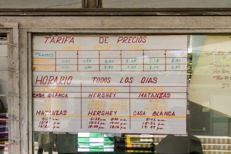 The hand-written schedule on the wall of the station in Cuba.