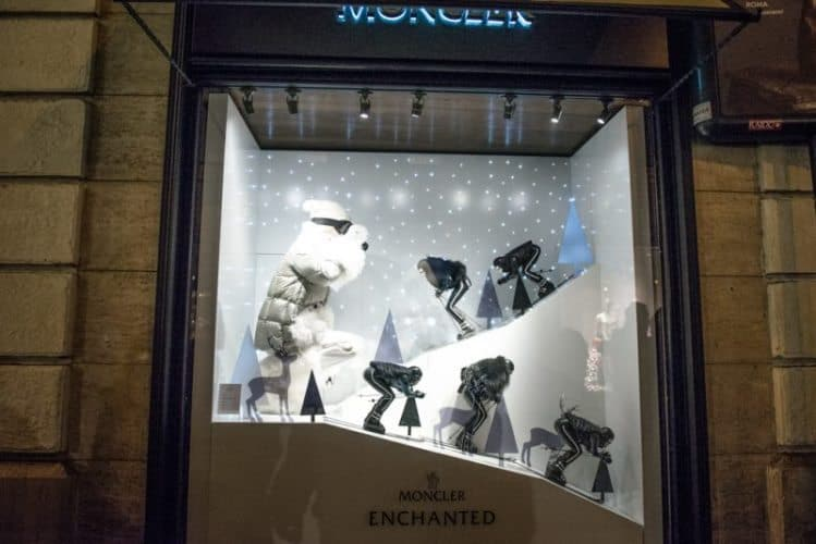 Ski scene in the window of Moncler, the upscale French fashion store.