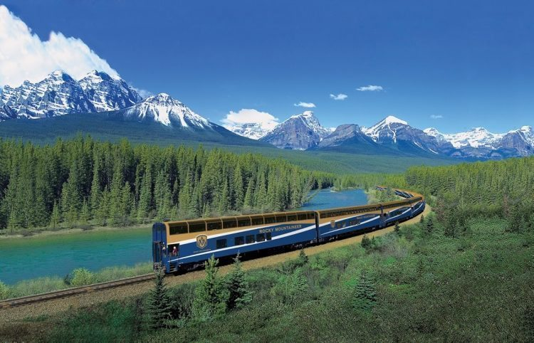 The Rocky Mountaineer traverses the Canadian Rockies.