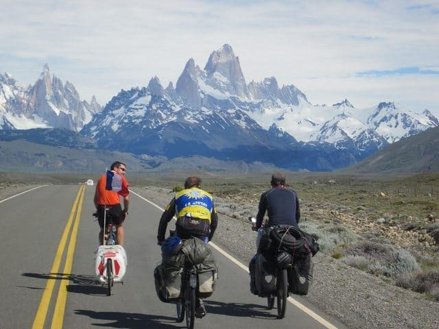 The crew on the road, before they went where bikes don't belong.