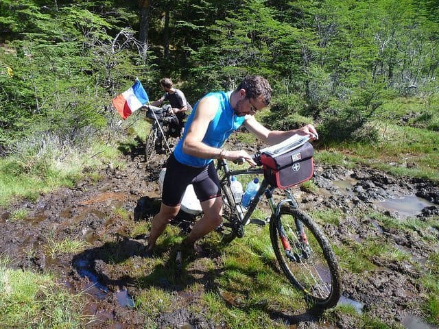 Biking in Patagonia...where bikes aren't supposed to go. Stephen Fabes photo.