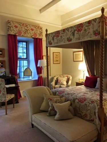 A luxury guestroom (one of the smaller of the estate's many rooms) at Llangoed Hall,