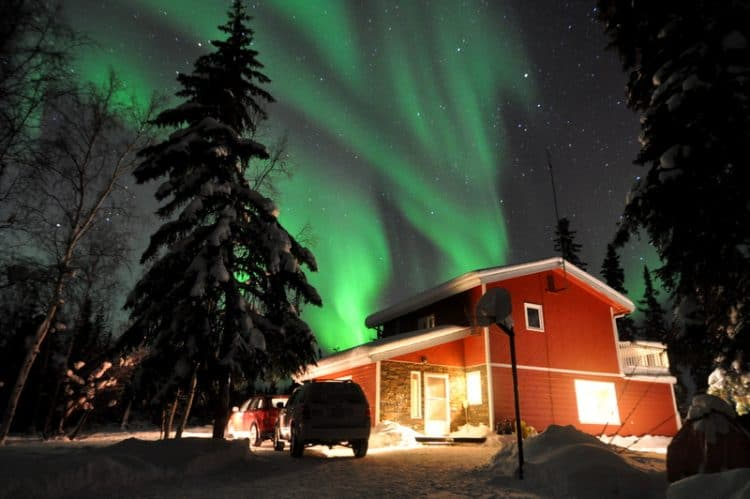Aurora Borealis (Northern Lights) over Willow Ridge Retreat, the guesthouse we stayed. Trupti Devdas Nayak photos.