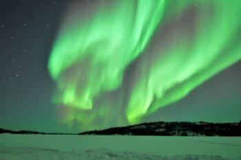 Aurora Borealis on display at night in Yellowknife.