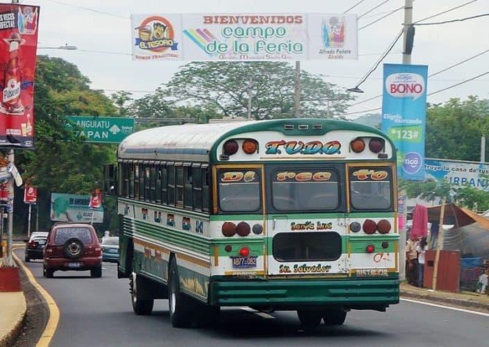 Chicken Bus in San Salvador, El Salvador.