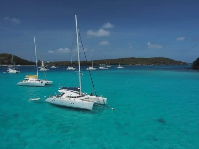 Yachts anchored in Tobago Cays.