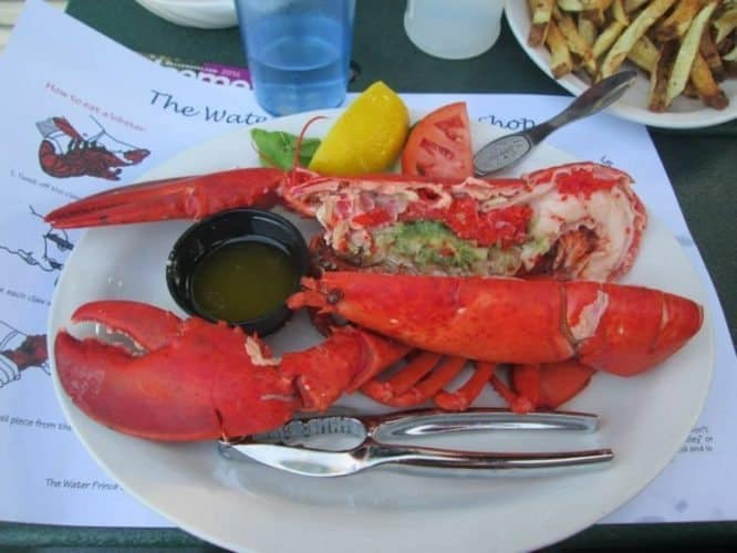 Rewarding ourselves after a long day of biking with a nice PEI lobster dinner at Charlottetown