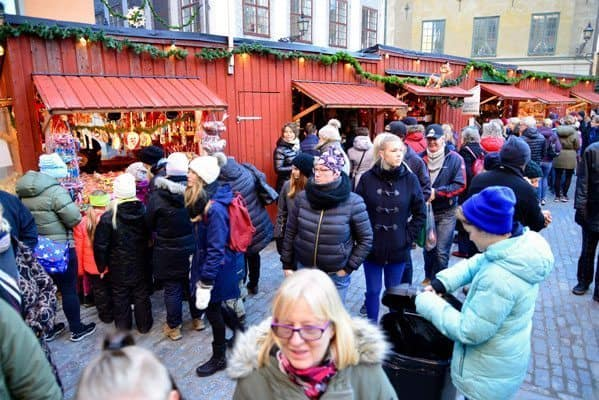 Christmas market in Gamla Stan (Old Town) are busy right up until the day before Christmas Eve.