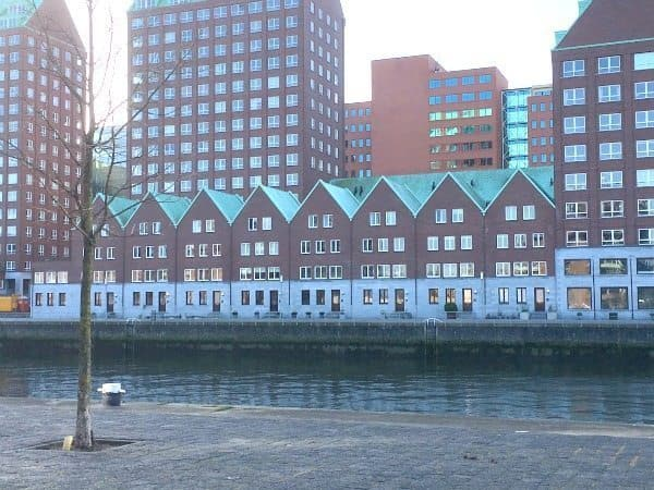 Apartments among the office buildings.