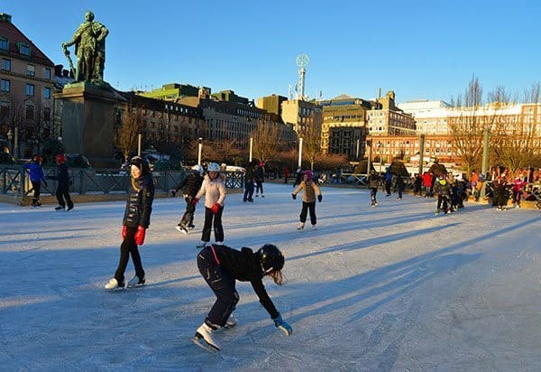 Ice skaters enjoying the season at Christmastime in Stockholm. Sonja Stark photos.