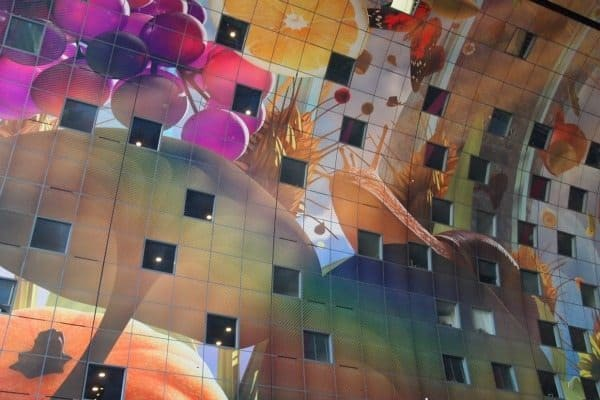 The inside of the Markthal is an aluminum skin that looks like a giant horn of plenty.