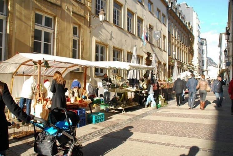 The busy market in the city center.