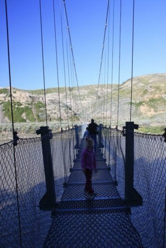The Rosedale suspension bridge.