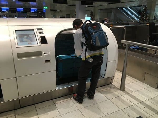 At Schiphol airport, baggage is all high tech, and the security people are very helpful.