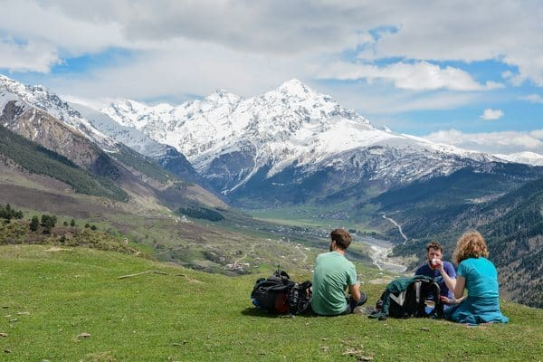 Hiking in Svaneti: Overlooking the Enguri Valley between Mestia and Zhabeshi. Giacomo Frison photos.