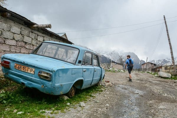 Battered Soviet Lada, the most resilient vehicle in Svaneti, besides horse carts.
