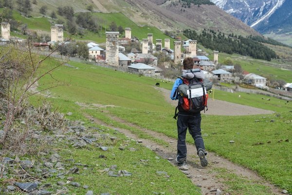 Reaching the first village of the Zhamushi community, hiking in Svaneti.