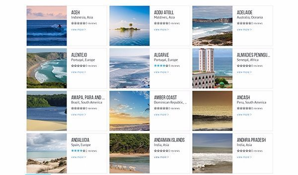Some of the many regions offered on surfguide.com