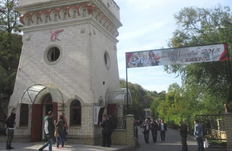 "A Cricova Winery entrance sign says ""Wine Day 2015."""