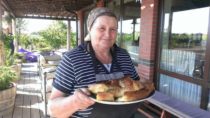 A Etcetera Winery Owners mother Nina Luchianov with her placinta.