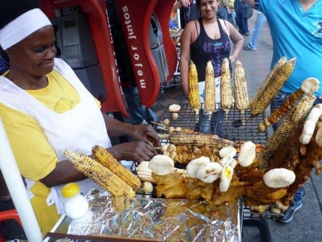 Barbequed corn sold on the streets of Medellin.