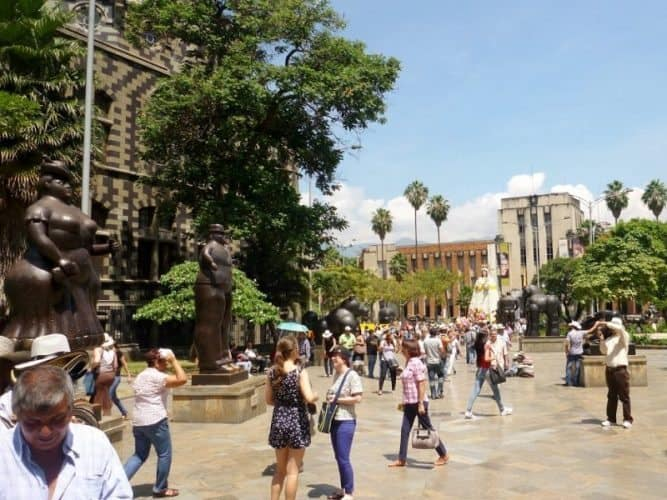 Plaza Botero in Medellin, full of sculptures of the plump women and men the famous artist loved.
