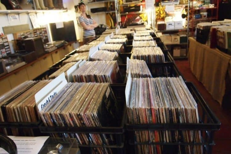 LPs for sale at a record shop in Retro Row, Long Beach.