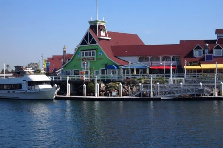 Shoreline Village, with shops, cafes and bars on a pier along Rainbow Harbor.